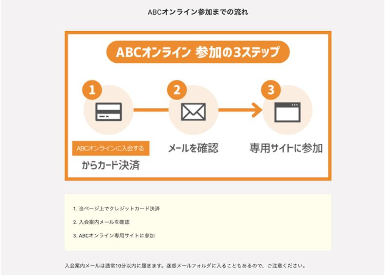 ABCオンライン入会の流れ カード決済→メールを確認→専用サイトに参加